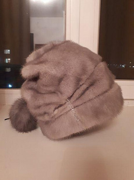 Серая норковая шапка с бубоном. Нур-Султан