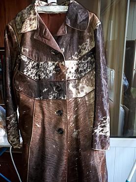 Продам кожаное пальто с замшевыми вставками Алматы