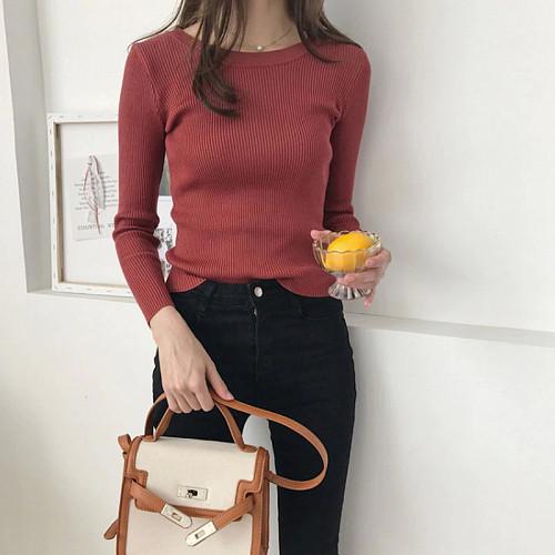 Однотонный вязаный свитер женская Караганда