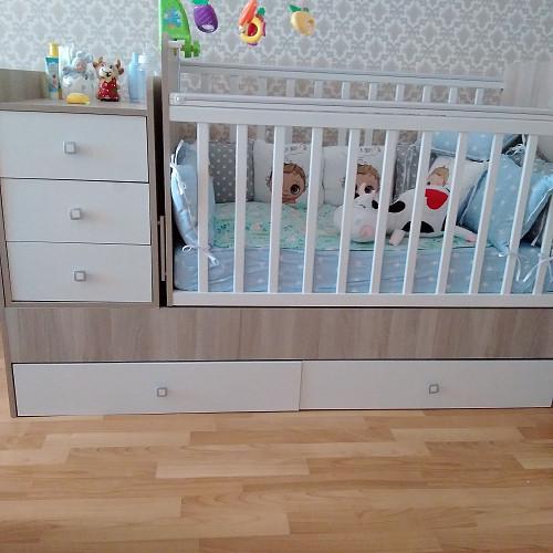 Детская кроватка с люлькой для новорожденного, мальчик. Костанай