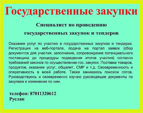 Специалист по проведению государственных закупок и тендеров Акколь