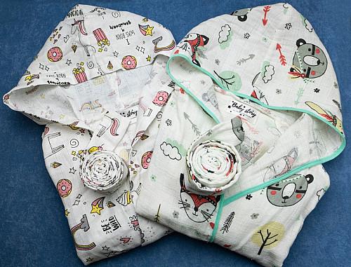 Муслиновый халат с капюшоном и карманами Алматы