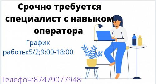 Требуется специалист с навыком оператора Алматы
