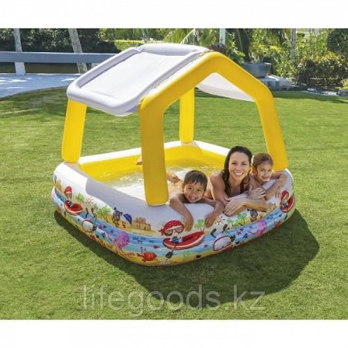 Детский надувной бассейн 157х157х122см с навесом , Intex 57470 Алматы